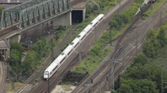 Aerial View ICE Intercity Express Moving Train Rush Hour Commuter Commute Travel Stock Footage