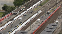 Rush Hour Train Passing Movement Traffic Jam Railway Station Aerial View Cologne Stock Footage