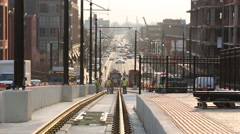 Trolley Car Rail Construction on Busy H Street in Washington DC 4.mp4 Stock Footage