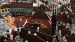 City (Prague) - urban buildings - roofs of buildings - sunny - closeup (detail) Stock Footage