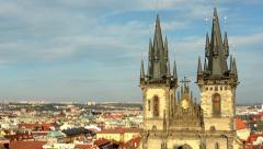 city (Prague) - urban buildings - roofs of buildings - sunny - Church of Tyn - stock footage