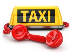 taxi car sign and  telephone on white isolated background. - stock illustration