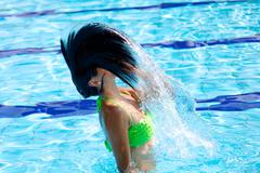 Long hair flying in the air with water Stock Photos