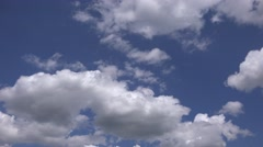 ULTRA HD 4K Beautiful summer blue sky cloud formation moving fast relaxing time Stock Footage