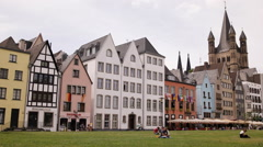 Tourists Relaxing People Walking Cologne Famous Old Town Promenade Sidewalk Day Stock Footage