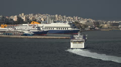 Athens Greece Ferry arrives Aegean Piraeus Port HD Stock Footage