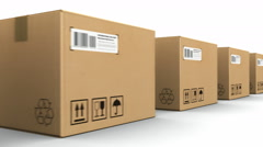 Row of cardboard boxes - stock footage