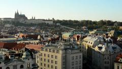 City (Prague) - urban buildings - roofs of buildings - Prague Castle (Hradcany) Stock Footage