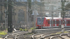 Regional Train Passing Departing Cologne Central Main Station Commuters Commute Stock Footage