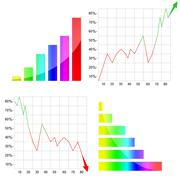 colorful graph / diagram with arrow - stock illustration