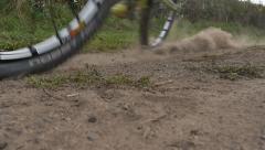 Mountain bike dirt skid Stock Footage