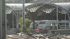 Workers Cologne Central Station Tracks Platform Intercity Express ICE Prepare Stock Footage