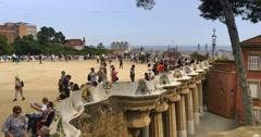 4K Tourists Visit Park Güell in Barcelona Stock Footage