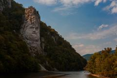 Statue of Decebal on Danube river Romania 6K Stock Footage