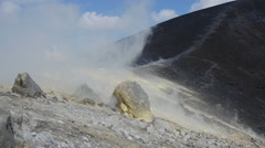 Vulcano, Eolie island in Sicily, Italy: Volcano Crater, steam, geology, rocks - stock footage