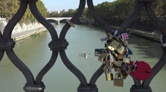 Love Locks, rowers below, Ponte Sant'Angelo, Rome, Italy 4k - stock footage