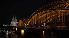 Illuminated Night Lights Spectacular Cologne Cathedral Skyline Evening Cityscape Stock Footage