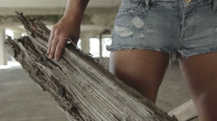Female bodybuilder posing Stock Footage
