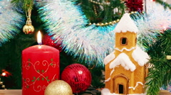 Christmas decoration - candle, house, snowflakes and balls Stock Footage