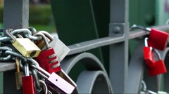 Wish locks on the bridge Stock Footage