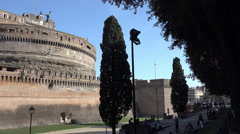 Stock Video Footage of Castel Sant'Angelo w tourists in park, 4k