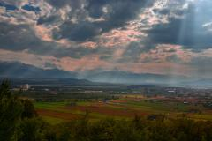 Hateg valley and Retezat mountains time lapse sunrays 6K Stock Footage