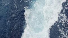 Ocean and Mediterranean Sea wake behind large Cruise ship Stock Footage