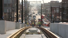 Washington DC trolley car rail construction Stock Footage