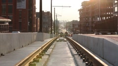 Washington DC trolley car rail construction - stock footage