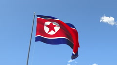 The flag of North Korea Waving on the Wind. - stock footage
