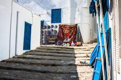 street in the town of sidi bou said, tunisia - stock photo