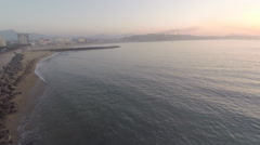 2.7K AERIAL SHOT SUNSET On THE FRENCH WEST COAST Stock Footage