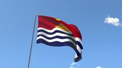 The flag of Kiribati Waving on the Wind. Stock Footage