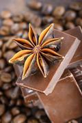 Macro shot to anise with chocolate - stock photo