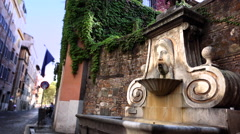 Fontana del Mascherone, Fountain of the Mask, 4K - stock footage