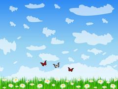 Daisy field Stock Illustration