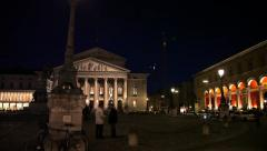 Evening / Night in Munich. Bavarian National Opera Stock Footage