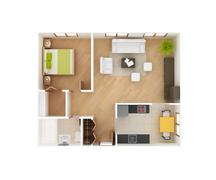 Stock Illustration of 3d house floor plan top view