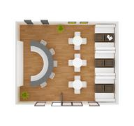 Cafe bar restaurant interior top view 3d rendering Stock Illustration