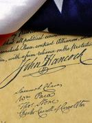 John Hancock's signature Bill of Rights - stock photo