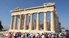 Athens Greece Parthenon tourist crowd HD Stock Footage