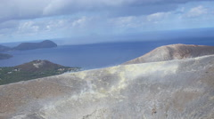 Vulcano, Eolie island in Sicily, Italy: Volcano Crater, steam, geology, rocks Stock Footage