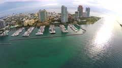 Aerial 4k video Miami Beach Marina Stock Footage
