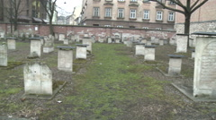 Jewish Cemetery in Krakow, Poland Stock Footage