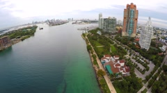 Aerial South Pointe Park Miami Beach 4k Stock Footage