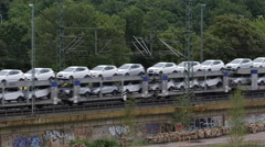 Train Passing Aerial View Countryside Rail Freight Transport Cars Automobile Day Stock Footage