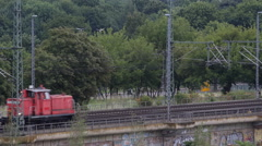 High Speed Small Diesel Shunt Locomotive Passing Marshalling Manoeuvre Railroad Stock Footage