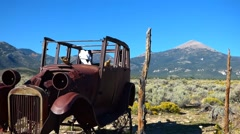Abandoned Model T Ford in Desert Stock Footage