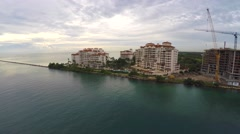 4k aerial Fisher Island video Stock Footage