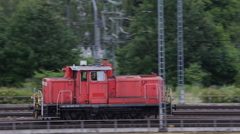 Panoramic View Pan Left Camera Follow Small Diesel Shunt Locomotive Passing Day Stock Footage
